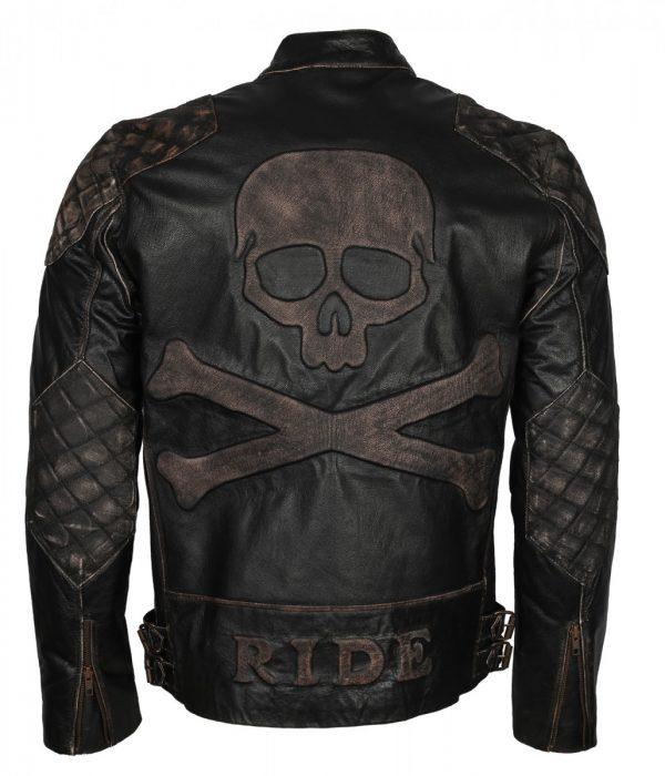 Men's Skull Embossed Vintage Biker Leather Jacket